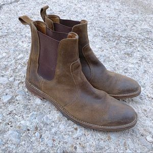 FRYE brown leather distressed chelsea boots